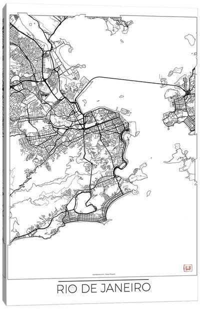 Rio De Janeiro Minimal Urban Blueprint Map Canvas Art Print