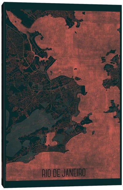 Rio De Janeiro Infrared Urban Blueprint Map Canvas Art Print