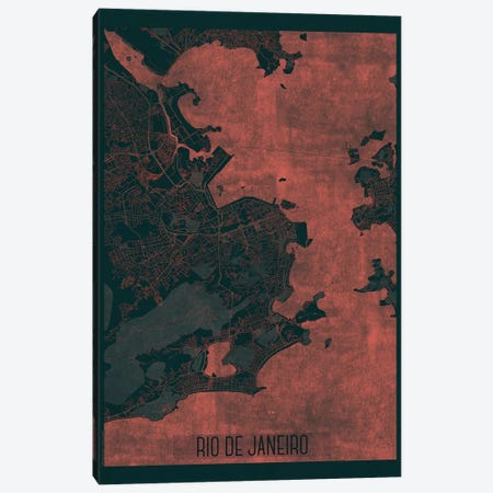Rio De Janeiro Infrared Urban Blueprint Map Canvas Print #HUR319} by Hubert Roguski Canvas Artwork