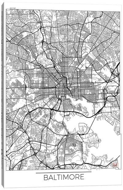 Baltimore Minimal Urban Blueprint Map Canvas Art Print