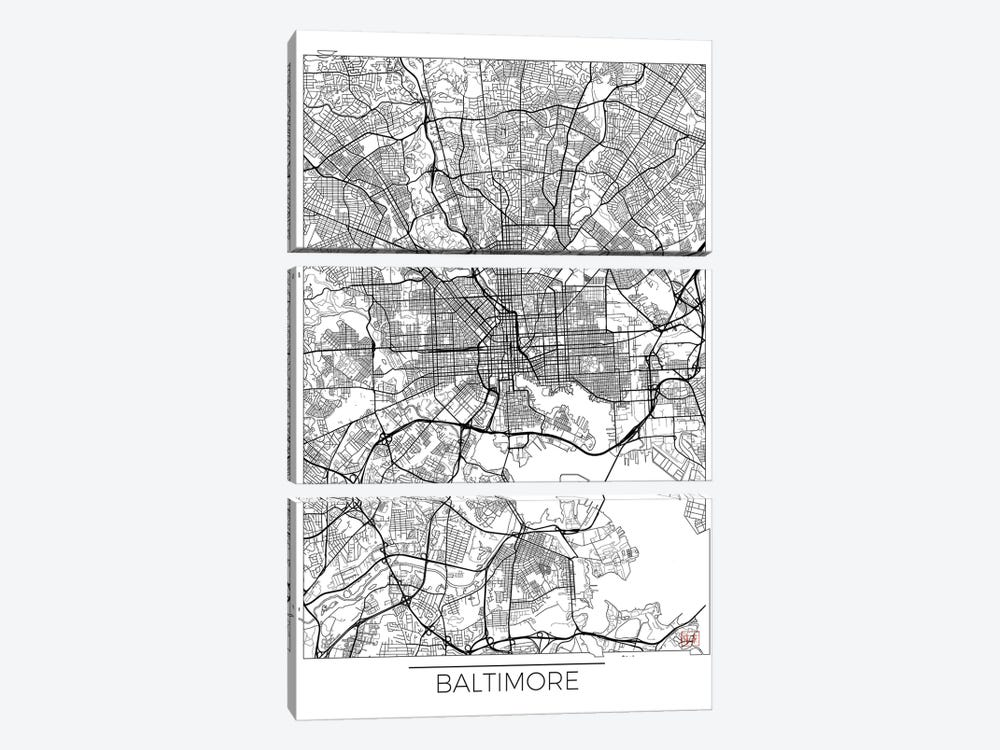 Baltimore Minimal Urban Blueprint Map by Hubert Roguski 3-piece Canvas Art