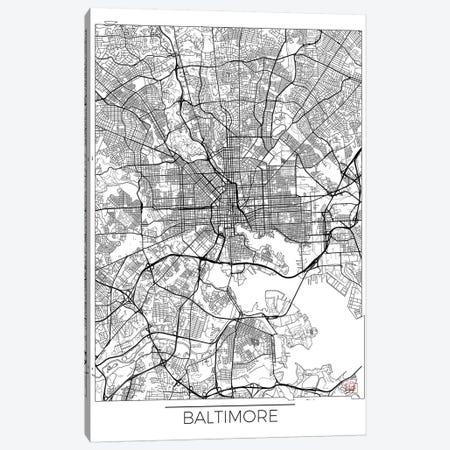 Baltimore Minimal Urban Blueprint Map Canvas Print #HUR31} by Hubert Roguski Canvas Artwork