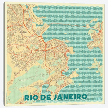 Rio De Janeiro Retro Urban Blueprint Map Canvas Print #HUR320} by Hubert Roguski Canvas Art Print