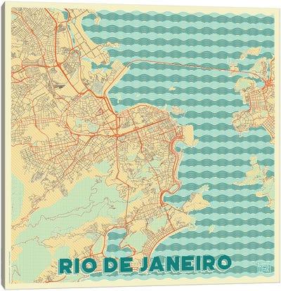 Rio De Janeiro Retro Urban Blueprint Map Canvas Art Print