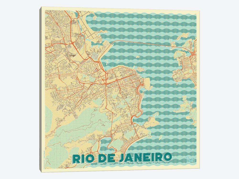 Rio De Janeiro Retro Urban Blueprint Map by Hubert Roguski 1-piece Canvas Artwork