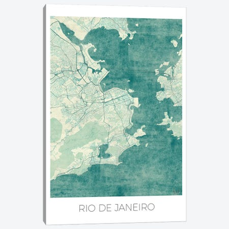Rio De Janeiro Vintage Blue Watercolor Urban Blueprint Map Canvas Print #HUR321} by Hubert Roguski Canvas Art Print