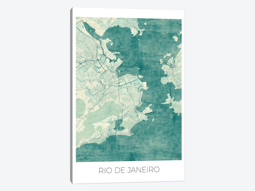 Rio De Janeiro Vintage Blue Watercolor Urban Blueprint Map by Hubert Roguski 1-piece Canvas Art Print