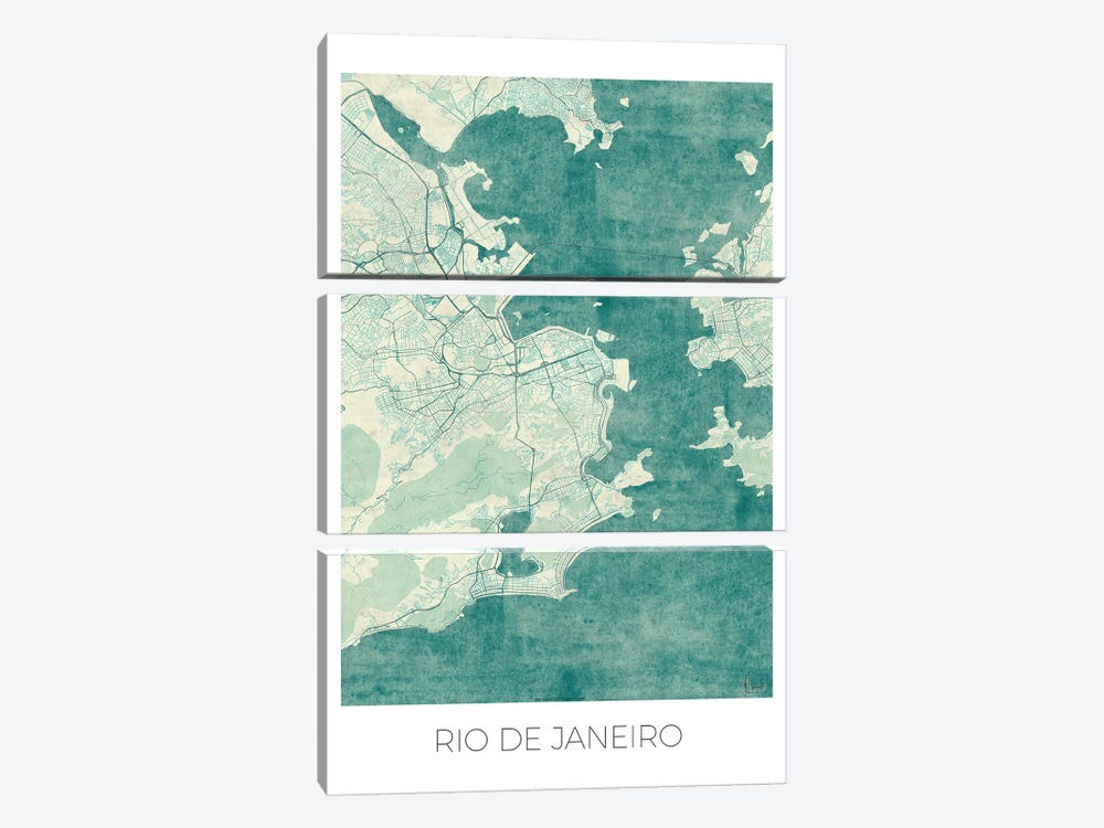 Rio De Janeiro Vintage Blue Watercolor Urban Blueprint Map by Hubert Roguski 3-piece Art Print