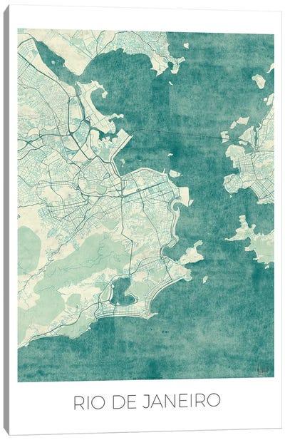 Rio De Janeiro Vintage Blue Watercolor Urban Blueprint Map Canvas Art Print