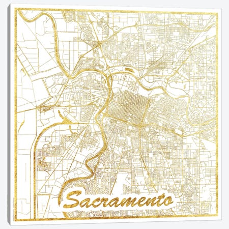 Sacramento Gold Leaf Urban Blueprint Map Canvas Print #HUR322} by Hubert Roguski Canvas Art Print