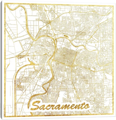 Sacramento Gold Leaf Urban Blueprint Map Canvas Art Print