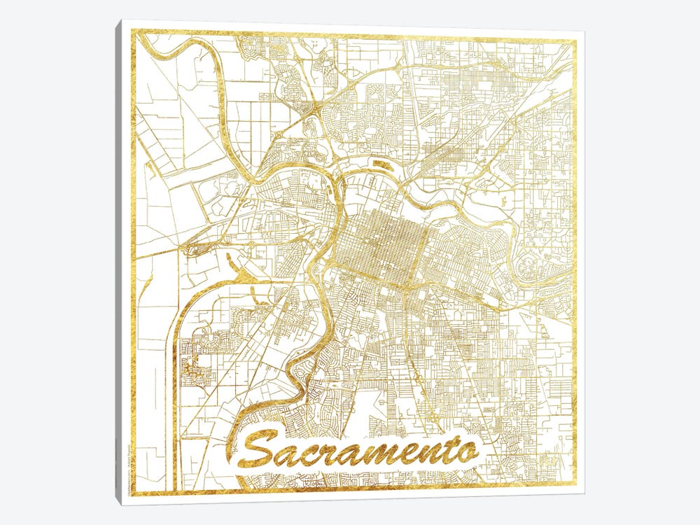 Sacramento Gold Leaf Urban Blueprint Map by Hubert Roguski 1-piece Canvas Art