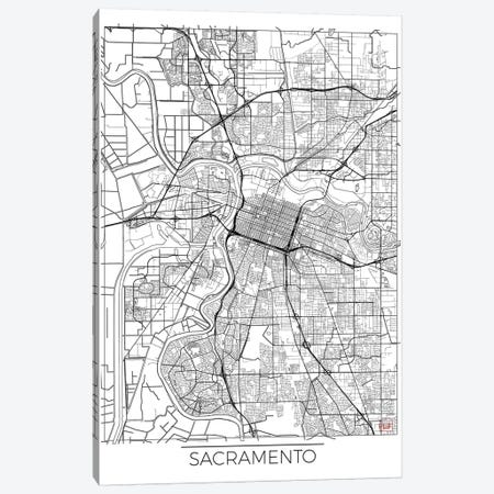 Sacramento Minimal Urban Blueprint Map Canvas Print #HUR323} by Hubert Roguski Art Print