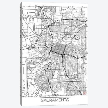 Sacramento Minimal Urban Blueprint Map 3-Piece Canvas #HUR323} by Hubert Roguski Art Print