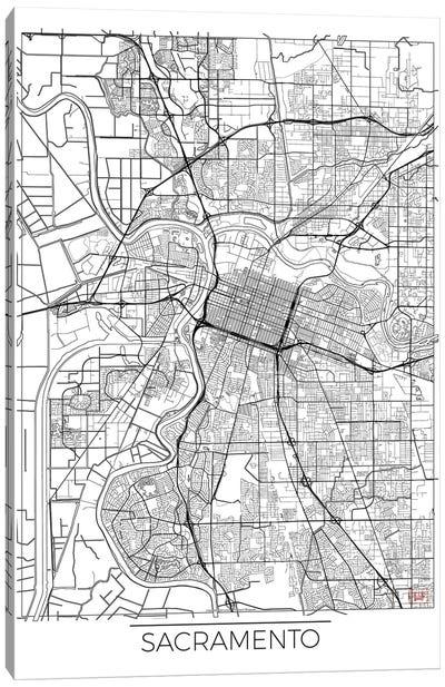 Sacramento Minimal Urban Blueprint Map Canvas Art Print