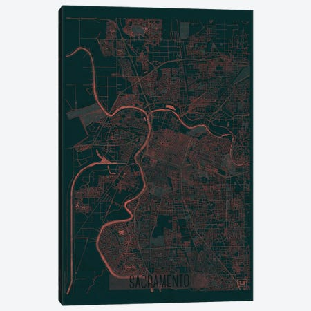 Sacramento Infrared Urban Blueprint Map Canvas Print #HUR324} by Hubert Roguski Canvas Wall Art