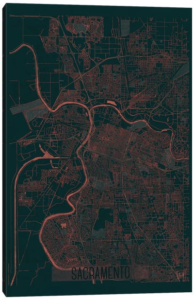 Sacramento Infrared Urban Blueprint Map Canvas Art Print
