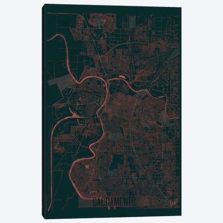 Sacramento Infrared Urban Blueprint Map 3-Piece Canvas #HUR324} by Hubert Roguski Canvas Wall Art