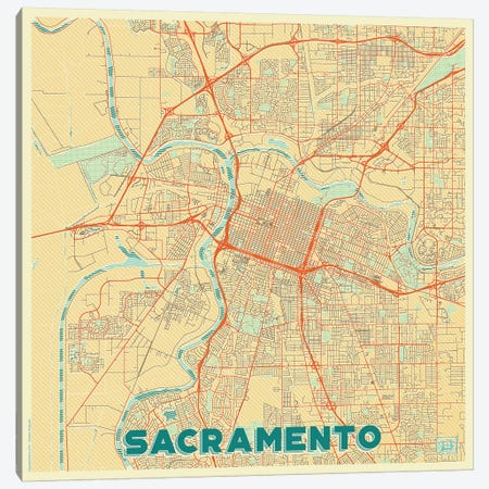 Sacramento Retro Urban Blueprint Map Canvas Print #HUR325} by Hubert Roguski Canvas Artwork