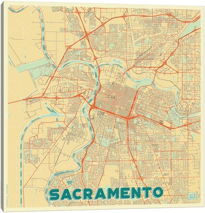 Sacramento Retro Urban Blueprint Map Canvas Art Print