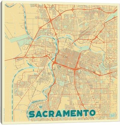 Sacramento Retro Urban Blueprint Map Canvas Art Print