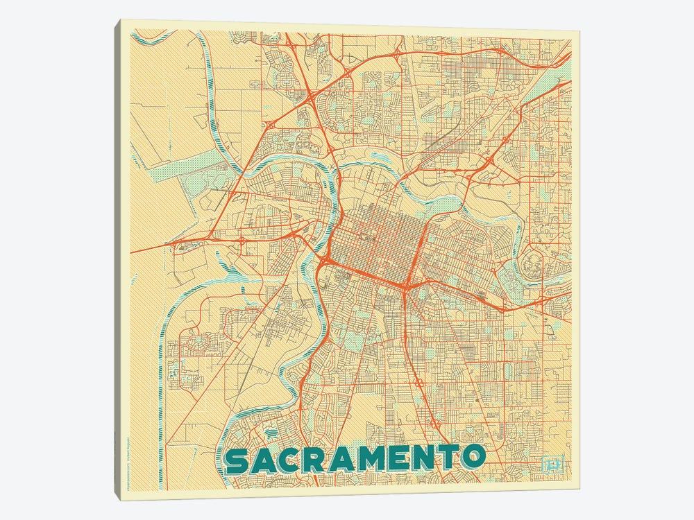 Sacramento Retro Urban Blueprint Map by Hubert Roguski 1-piece Canvas Art Print