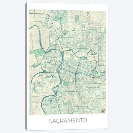 Sacramento Vintage Blue Watercolor Urban Blueprint Map Canvas Print #HUR326} by Hubert Roguski Canvas Art