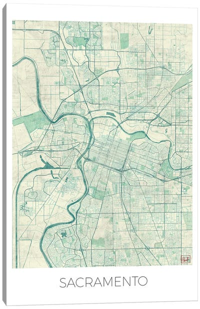 Sacramento Vintage Blue Watercolor Urban Blueprint Map Canvas Art Print
