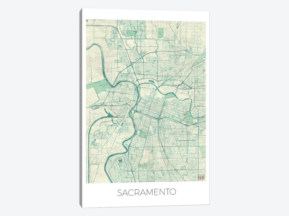 Sacramento Vintage Blue Watercolor Urban Blueprint Map 1-piece Canvas Art