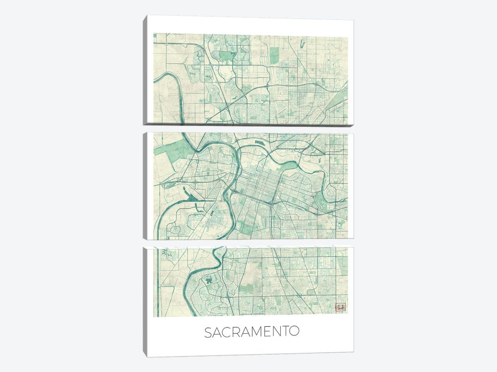 Sacramento Vintage Blue Watercolor Urban Blueprint Map by Hubert Roguski 3-piece Canvas Wall Art