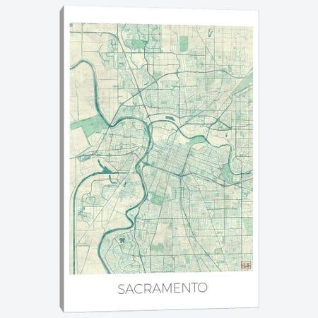 Sacramento Vintage Blue Watercolor Urban Blueprint Map Canvas Print #HUR326} by Hubert Roguski Canvas Art