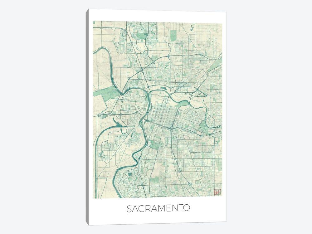 Sacramento Vintage Blue Watercolor Urban Blueprint Map by Hubert Roguski 1-piece Canvas Art