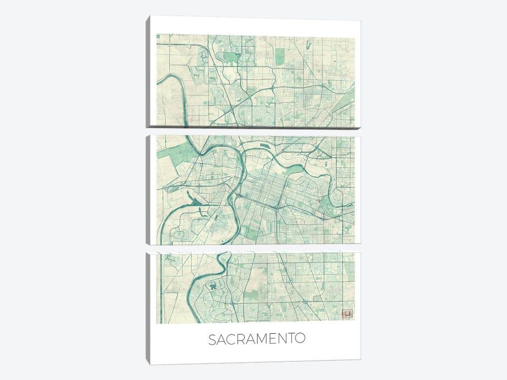 Sacramento Vintage Blue Watercolor Urban Blueprint Map by Hubert Roguski 3-piece Canvas Wall Art