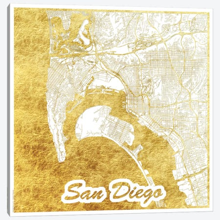 San Diego Gold Leaf Urban Blueprint Map Canvas Print #HUR327} by Hubert Roguski Canvas Wall Art