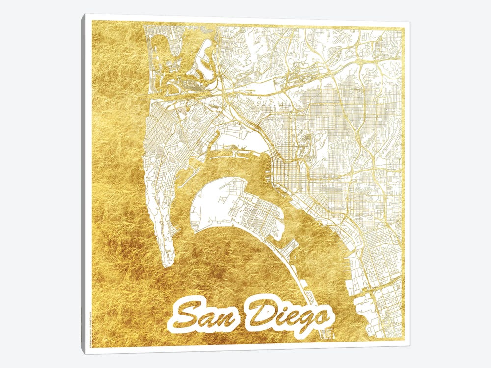 San Diego Gold Leaf Urban Blueprint Map by Hubert Roguski 1-piece Canvas Art Print