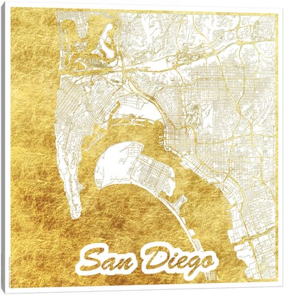 San Diego Gold Leaf Urban Blueprint Map Canvas Art Print