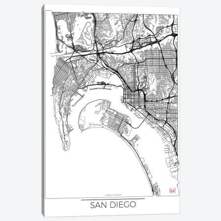 San Diego Minimal Urban Blueprint Map Canvas Print #HUR328} by Hubert Roguski Canvas Art Print