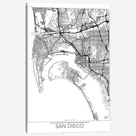 San Diego Minimal Urban Blueprint Map Canvas Print #HUR328} by Hubert Roguski Canvas Art Print