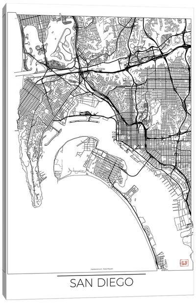 San Diego Minimal Urban Blueprint Map Canvas Art Print