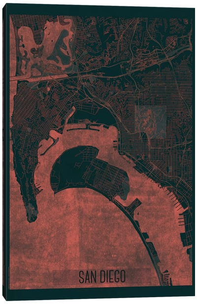 San Diego Infrared Urban Blueprint Map Canvas Art Print
