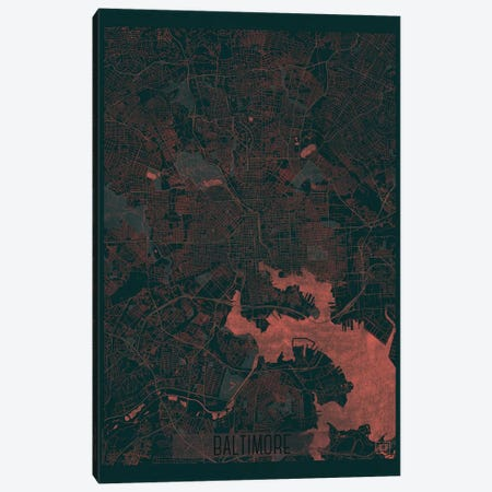 Baltimore Infrared Urban Blueprint Map Canvas Print #HUR32} by Hubert Roguski Canvas Wall Art