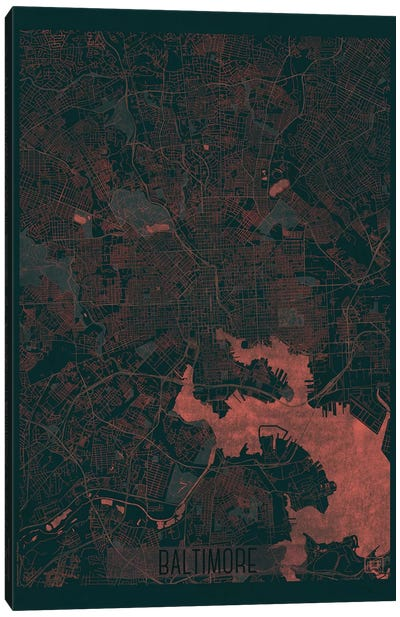 Baltimore Infrared Urban Blueprint Map Canvas Art Print