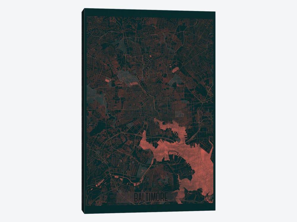 Baltimore Infrared Urban Blueprint Map by Hubert Roguski 1-piece Canvas Art Print