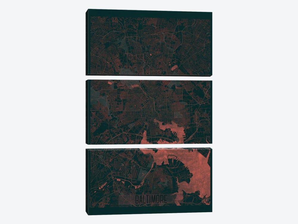 Baltimore Infrared Urban Blueprint Map by Hubert Roguski 3-piece Art Print