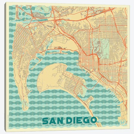 San Diego Retro Urban Blueprint Map Canvas Print #HUR330} by Hubert Roguski Canvas Wall Art