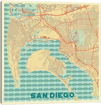San Diego Retro Urban Blueprint Map Canvas Art Print