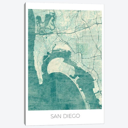 San Diego Vintage Blue Watercolor Urban Blueprint Map Canvas Print #HUR331} by Hubert Roguski Canvas Art