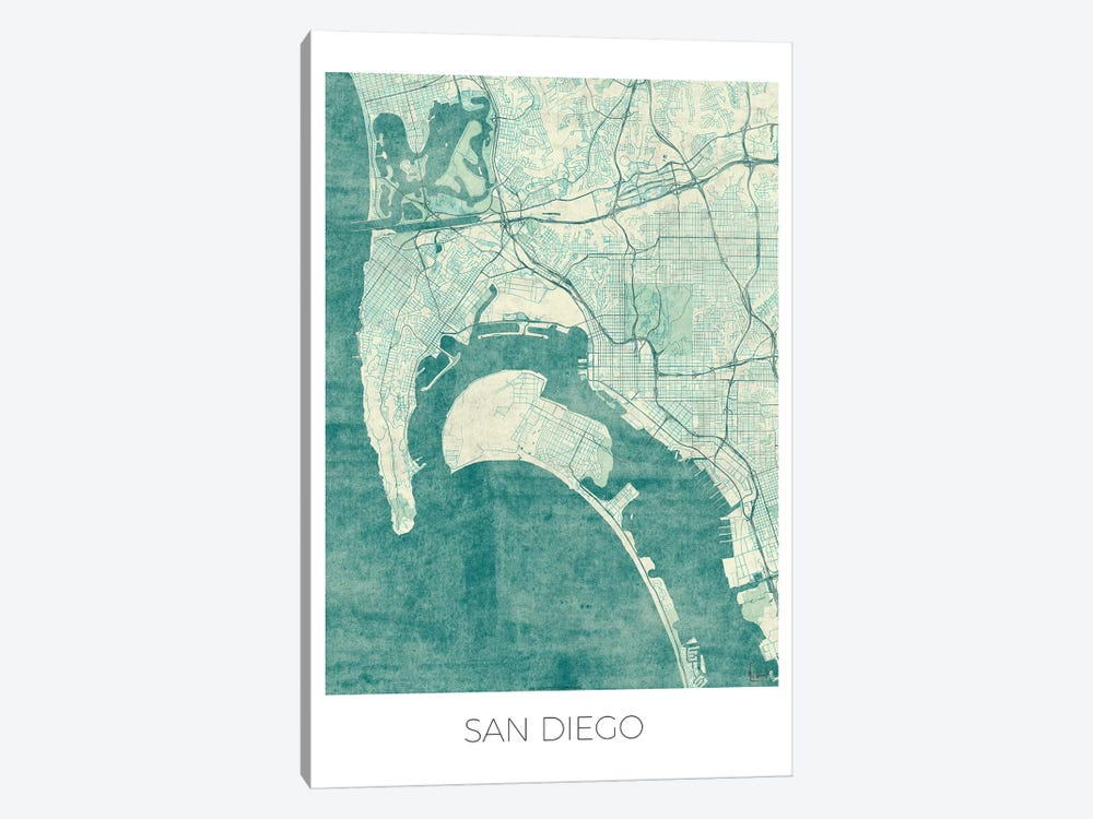 San Diego Vintage Blue Watercolor Urban Blueprint Map by Hubert Roguski 1-piece Canvas Wall Art
