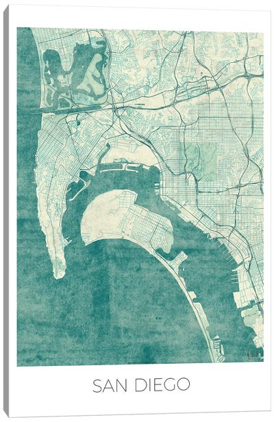 San Diego Vintage Blue Watercolor Urban Blueprint Map Canvas Art Print