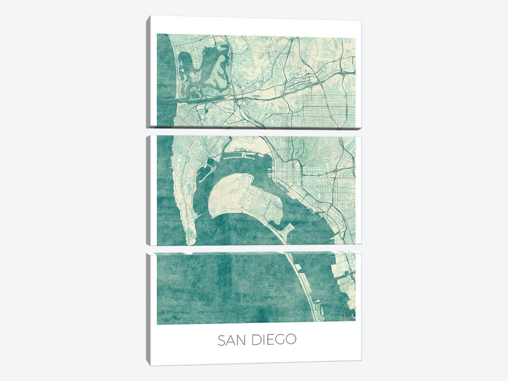 San Diego Vintage Blue Watercolor Urban Blueprint Map 3-piece Canvas Wall Art